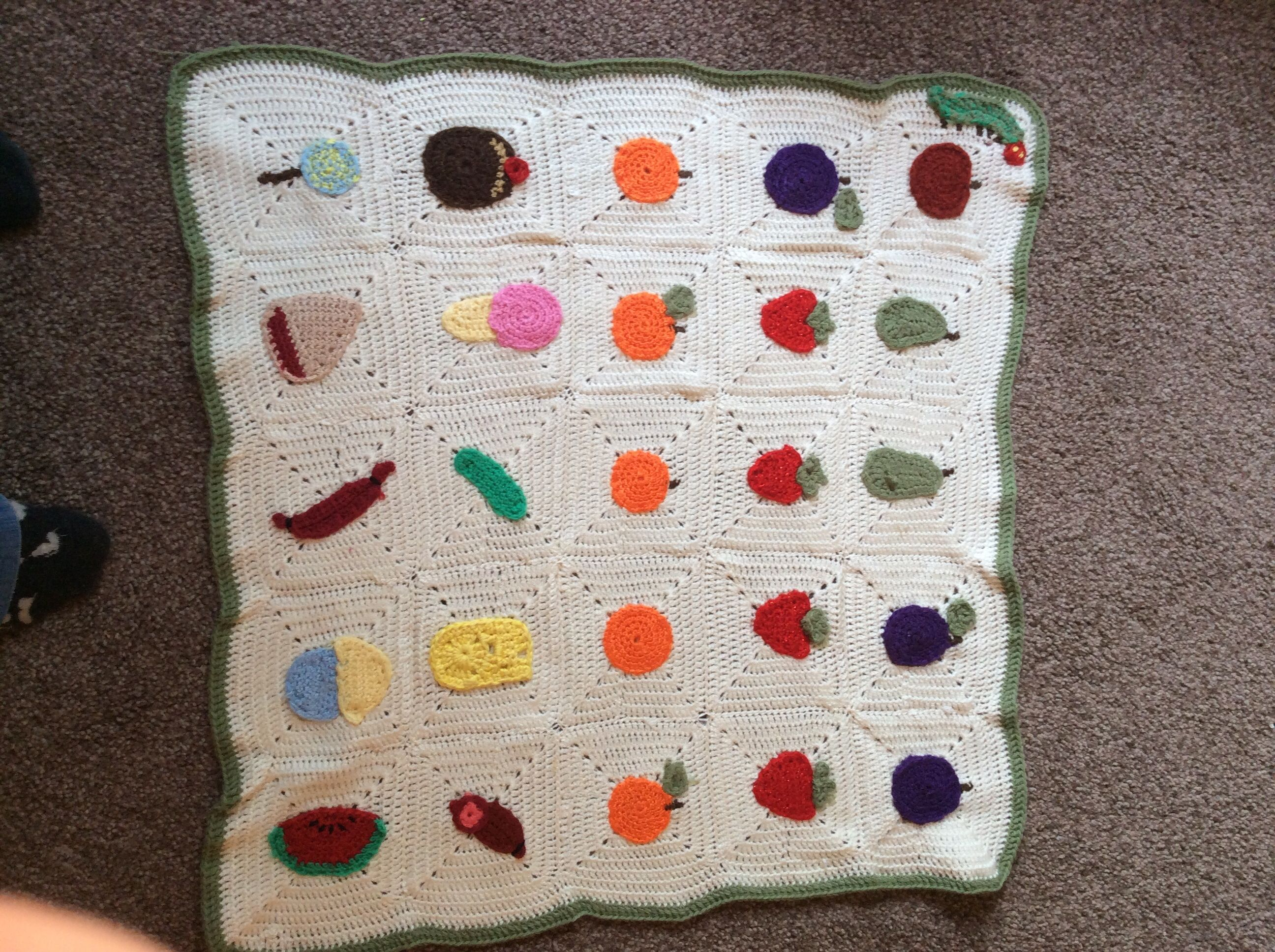 My first attempt at a Hungry Caterpillar baby blanket | Crochet ...