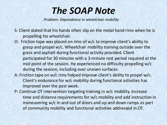Image Result For Sample Occupational Therapy Soap Note  Nurse