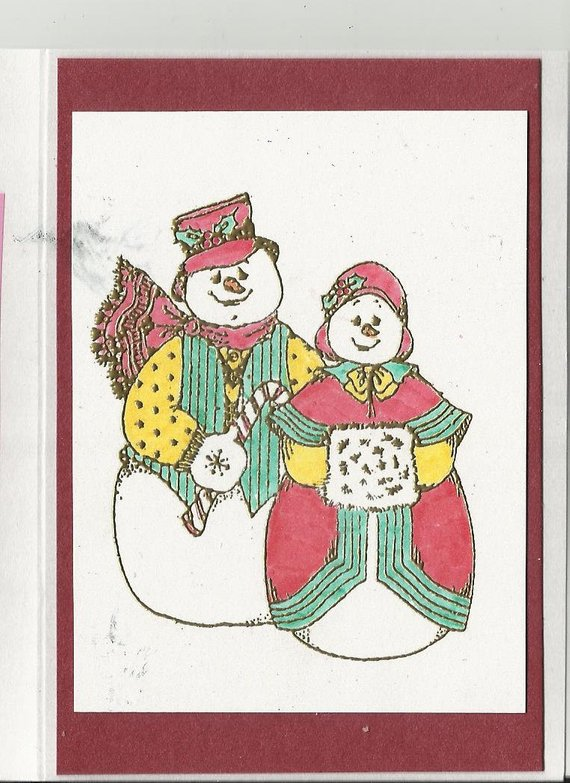 Snowman Couple Thank You Card-Set of 8 in 2018 Products