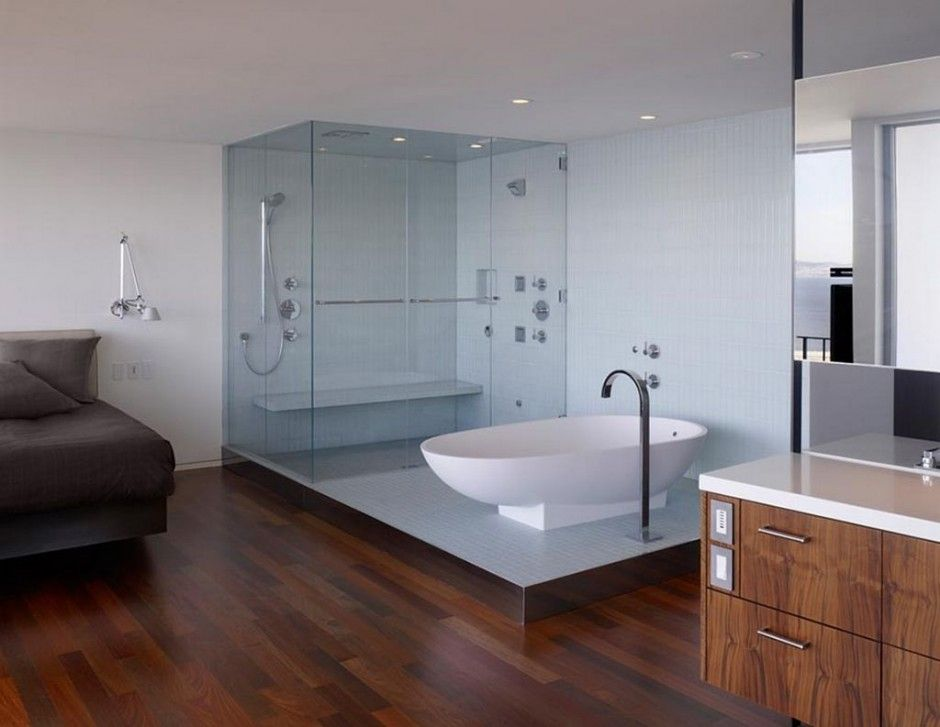 Fascinating Italian Bathroom Interior Design : Bathroom Italian Style With  Glass Shower And White Bathtub