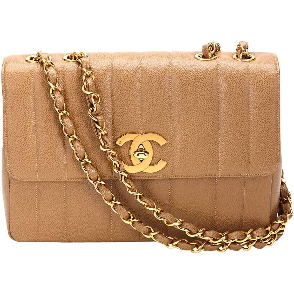 c9119313ec14 1990s Chanel Tan Vertical Quilted Caviar Leather Vintage Jumbo XL Flap Bag