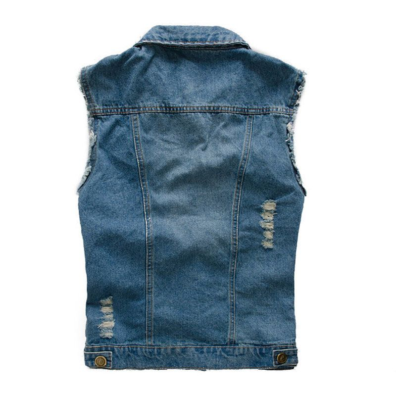 2a0d1cb94478 Blue Chest Pockets Slim Stone Washed Denim Vest for Men Cheap - NewChic