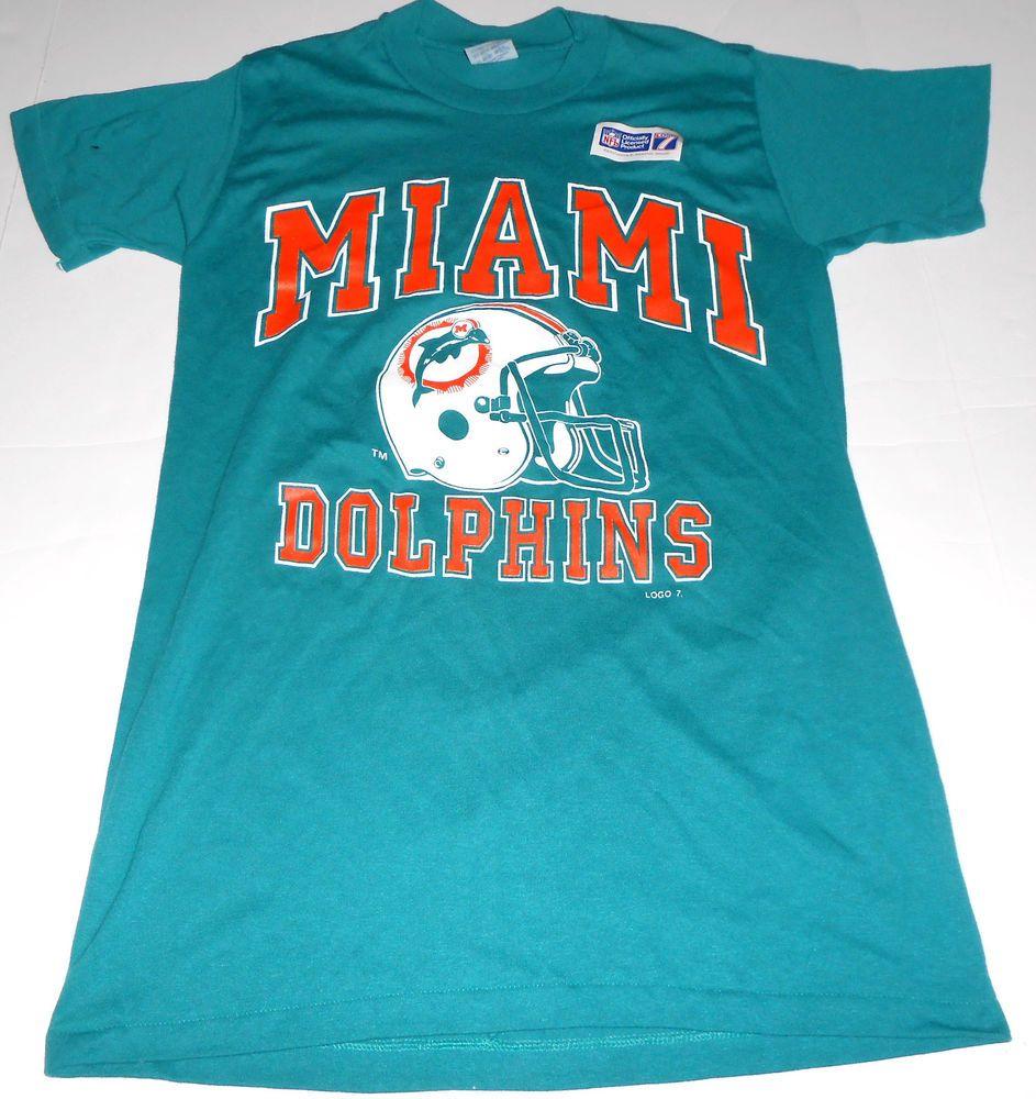 online store 564b8 d9322 Vintage MIAMI DOLPHINS Logo 7 50/50 T Shirt M MEDIUM 38-40 ...