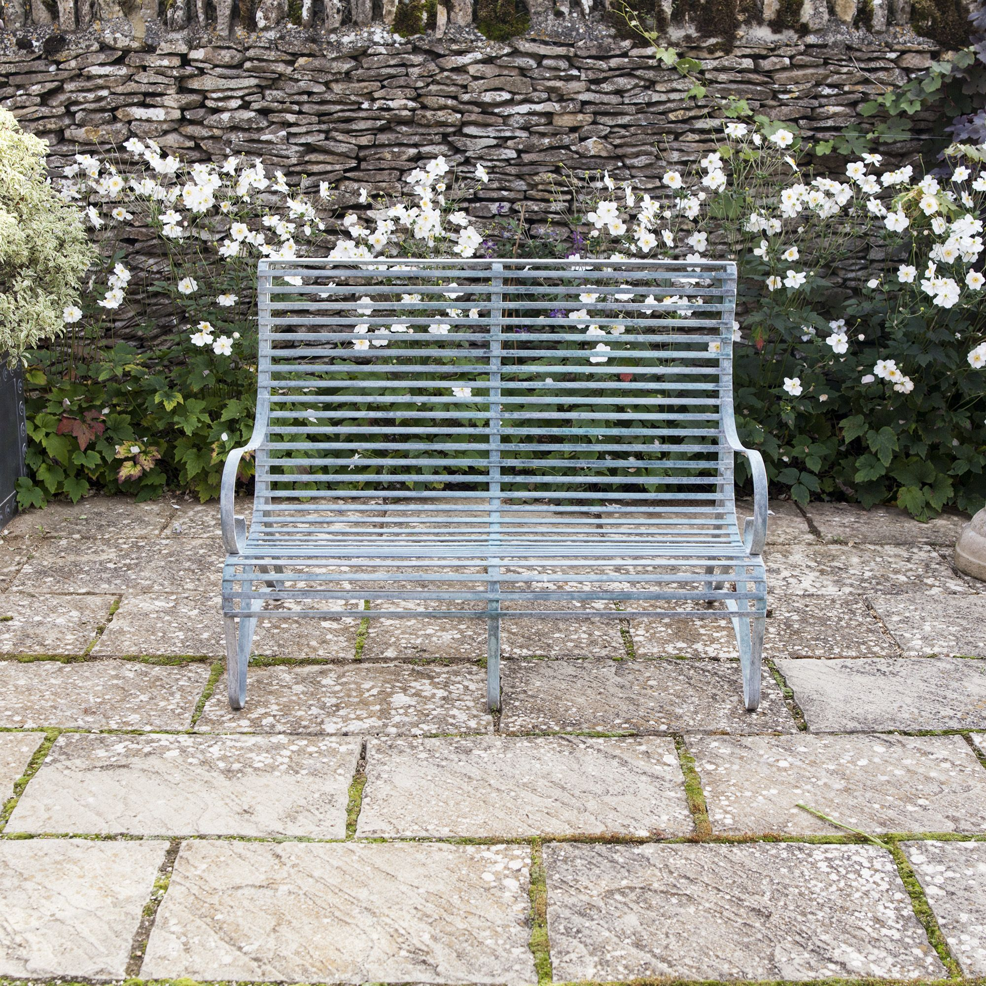 Sensational Verdigris Roll Top Garden Bench 2 Seater Park Life Metal Short Links Chair Design For Home Short Linksinfo