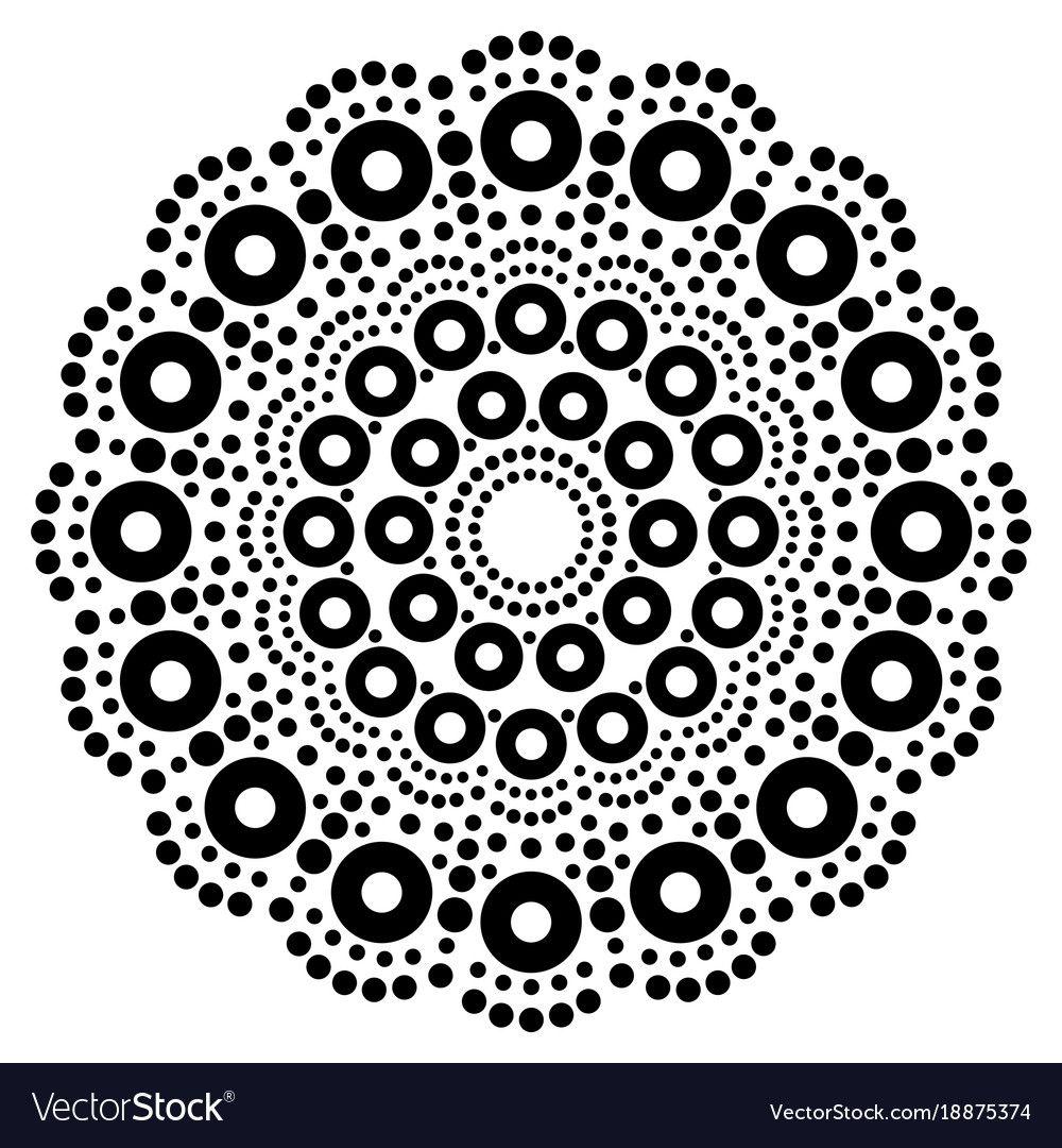 Abstract Mandala With Dots Circles Inspired By Australian Folk Art Geometric Composition In Black Aboriginal Dot Painting Aboriginal Dot Art Dot Art Painting