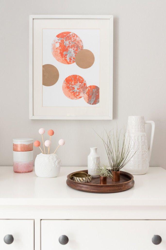 Elegant DIY Papier Selber Marmorieren In Frischen Farben Wie Apricot Und Koralle  Und Deko In Kupfer