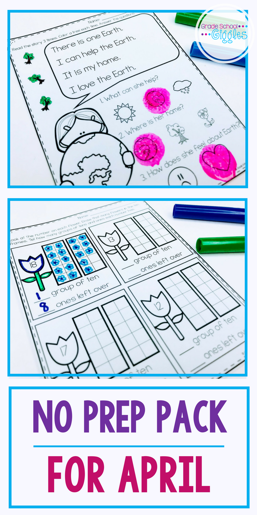 No Prep April Printables for Kindergarten | Ten frames, Kindergarten ...