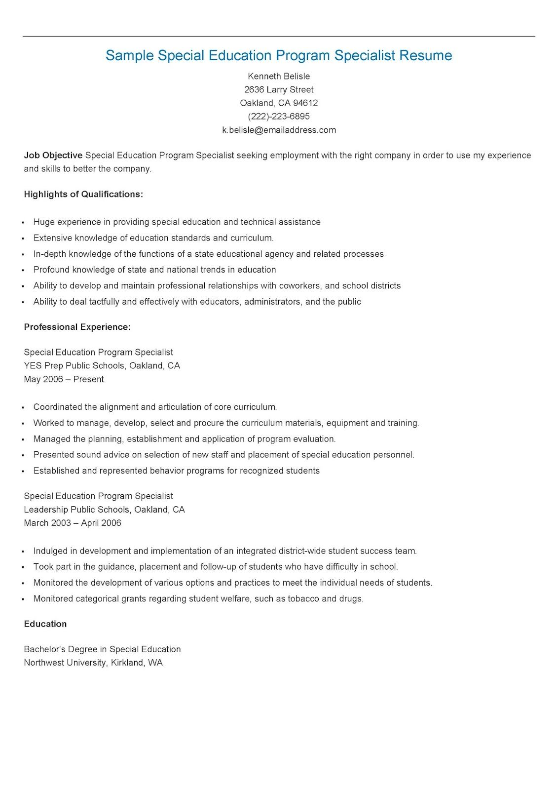 sample special education program specialist resume resame sample special education program specialist resume