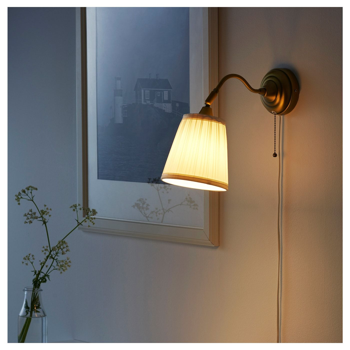 ÅRSTID Wall lamp, brass, white IKEA Ireland in 2020
