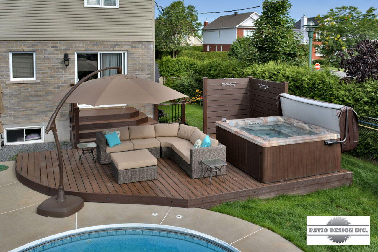 Patio avec piscine creus e jacuzzi patios piscine cour et cabanes de piscine - Amenagement exterieur piscine creusee ...