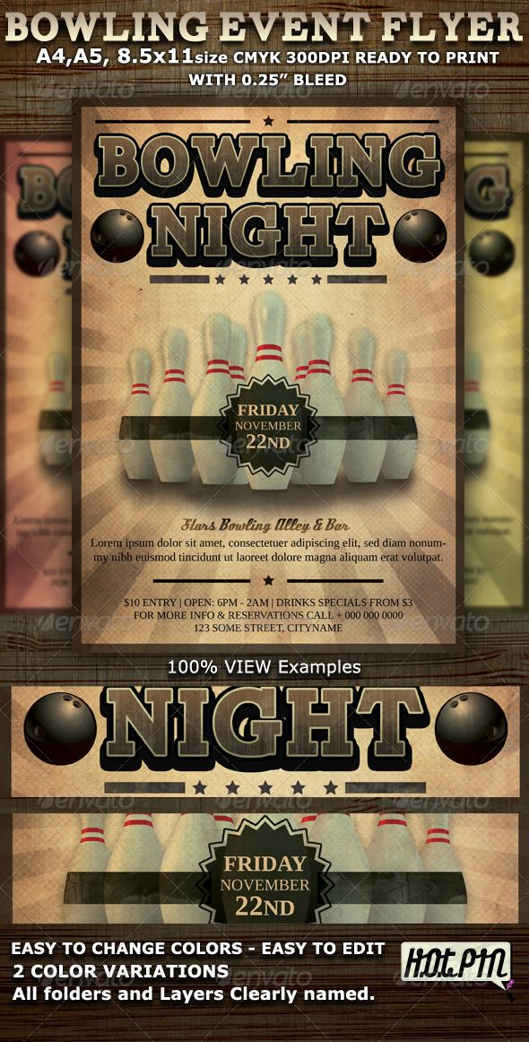 Bowling Event Party Flyer Template Party flyer, Psd flyer - bowling flyer template