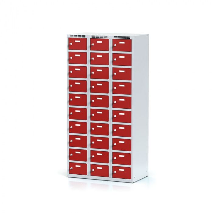 Cabinet with boxes, 30 boxes, red door, cylinder lock