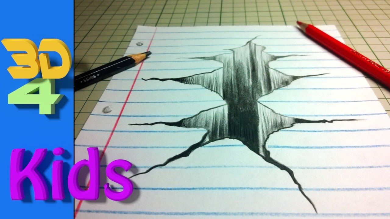 Wow easy 3d drawing draw crack in paper step by step youtube