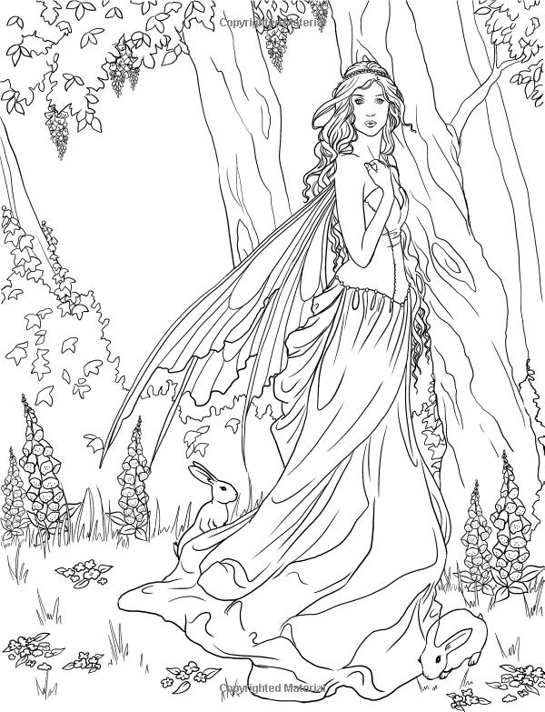 Fairy. Adult coloring page. source: http://www.amazon.com ...
