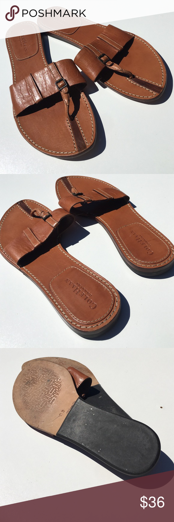 Cole Haan Country Brown Flip Flips Sandals 9 Leather. Cole