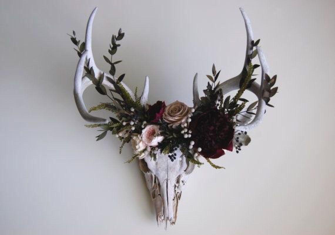 Coyote Cloud Deer Skull With Preserved Flower Crown By