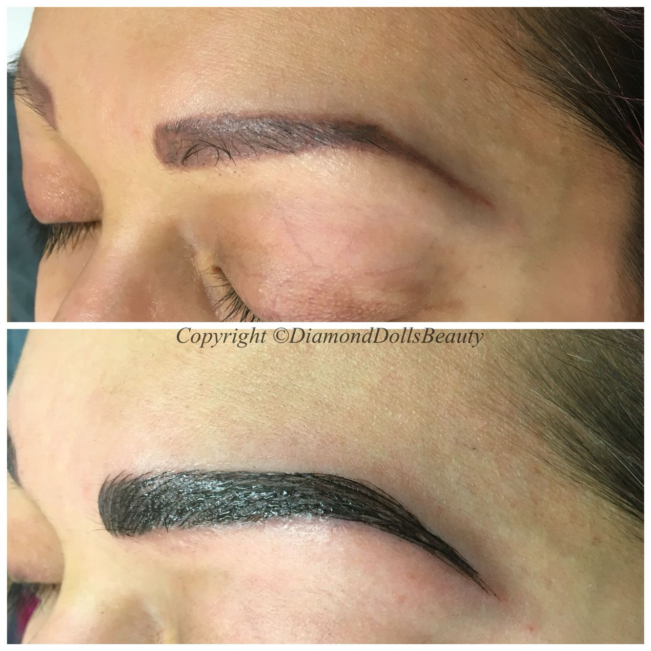 Microblade brows over faded tattoo brows by Diamond Dolls