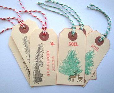 handmade christmas luggage label gift tags 250 - Christmas Tags Handmade