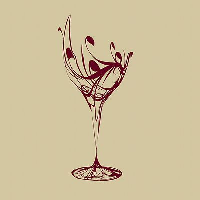 Elegant wine glass wall sticker art design kitchen decal for Glass painting templates