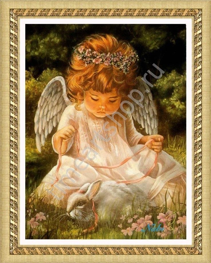 Маленький ангел с кроликом, картина раскраска по номерам ...