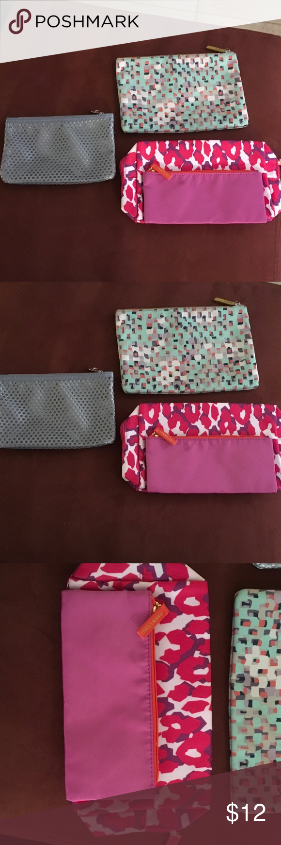 Three cosmetic/travel bags all new 1 Fossil Please three bags are brand-new and great to put in your purse or in your suitcase when traveling. None of them have been used. The pink one actually has another zippered bag that goes inside of it as displayed in the picture and is an Estée Lauder bag. The checkered one is a fossil bag and the gray one is in Ipsy bag. Estee Lauder Bags Cosmetic Bags & Cases