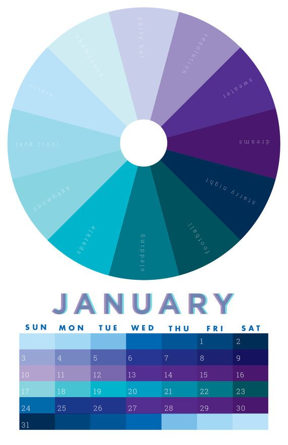 Based On A Designers Color Wheel This Wall Calendar Labels A