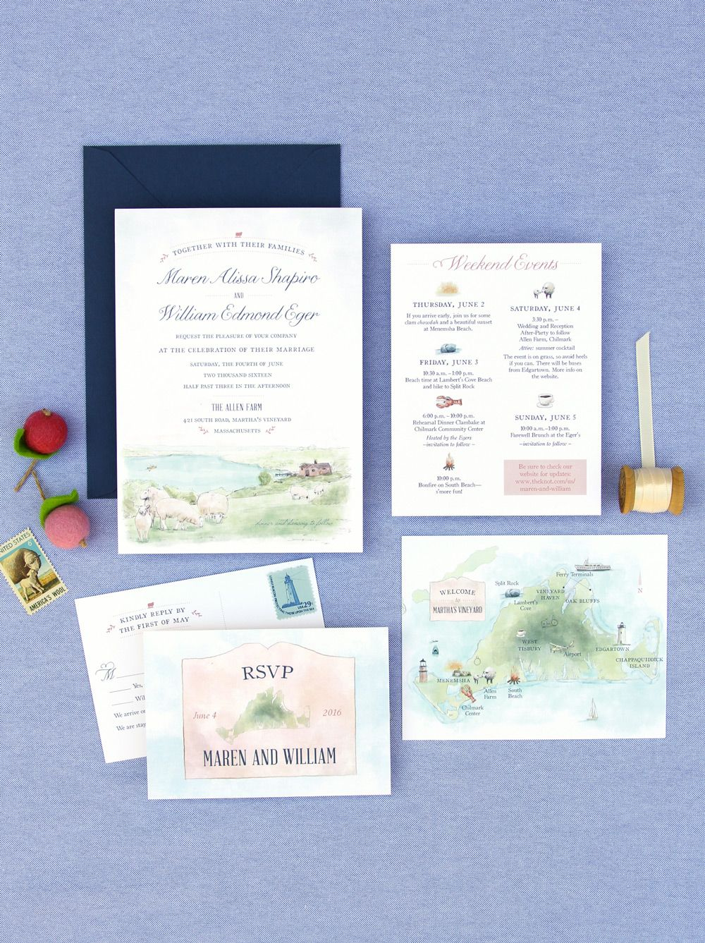 A Custom Watercolor Painting Invitation For A Martha S Vineyar