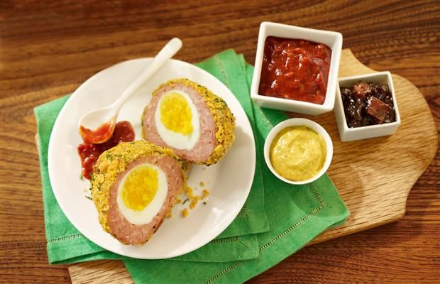 Traditional scotch eggs perfect to pack in a summer picnic basket