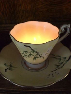 Pop a tea light into the bottom of a bone china teacup and you have the perfect table decoration - I used a tea cup from my Mum's wedding china and it brought back lovely memories too.  They were only ever used for 'best' so as a child I never got to drink from one of them!  #lovelymemories  www.lovelylane.co.uk