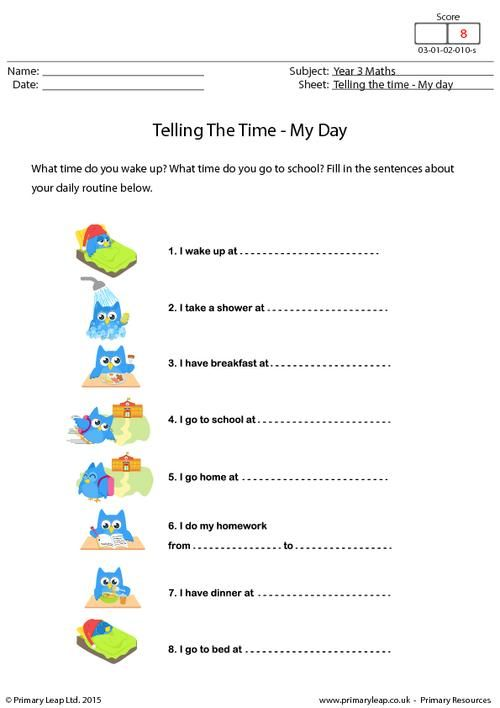 Primaryleap Co Uk Telling The Time My Day Worksheet With