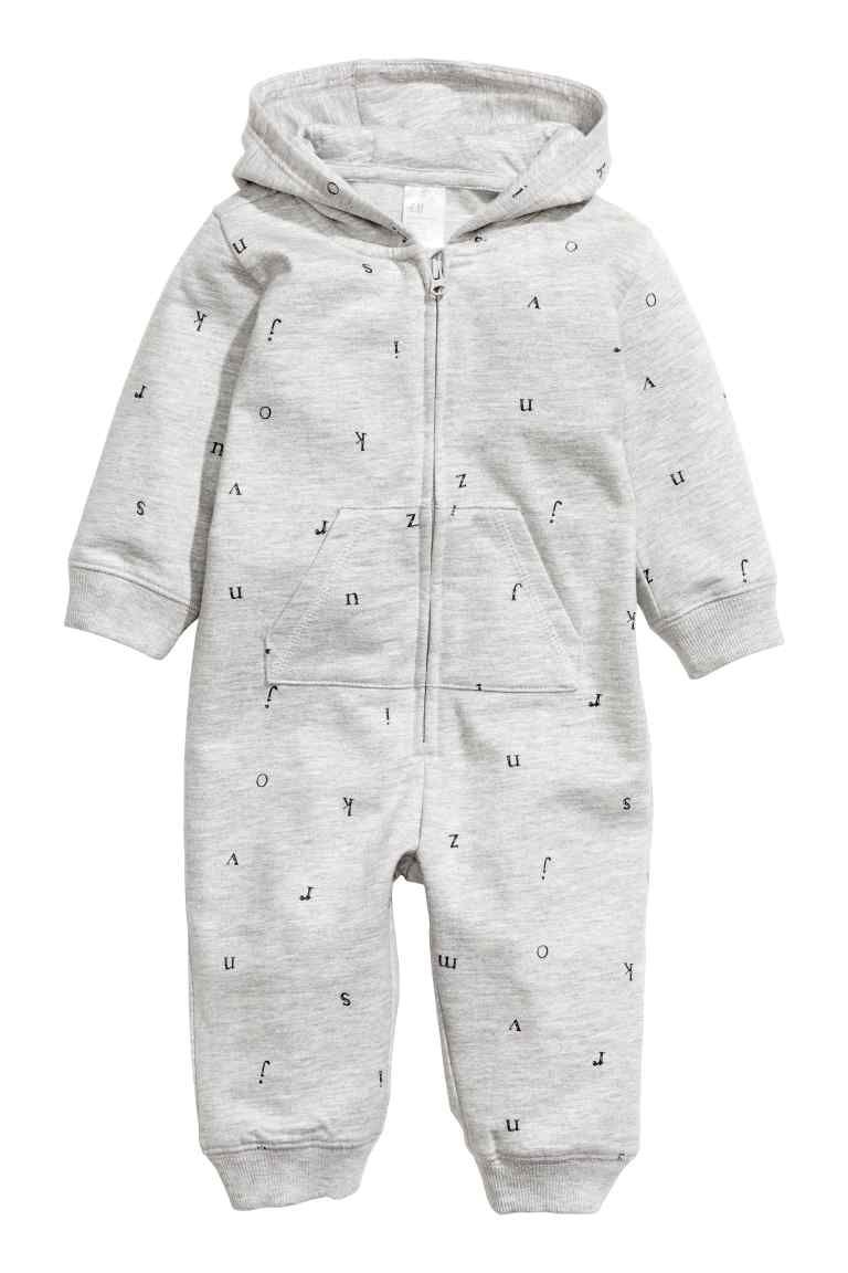 2ee050c5c7fa Hooded all-in-one suit - Grey Letter - Kids