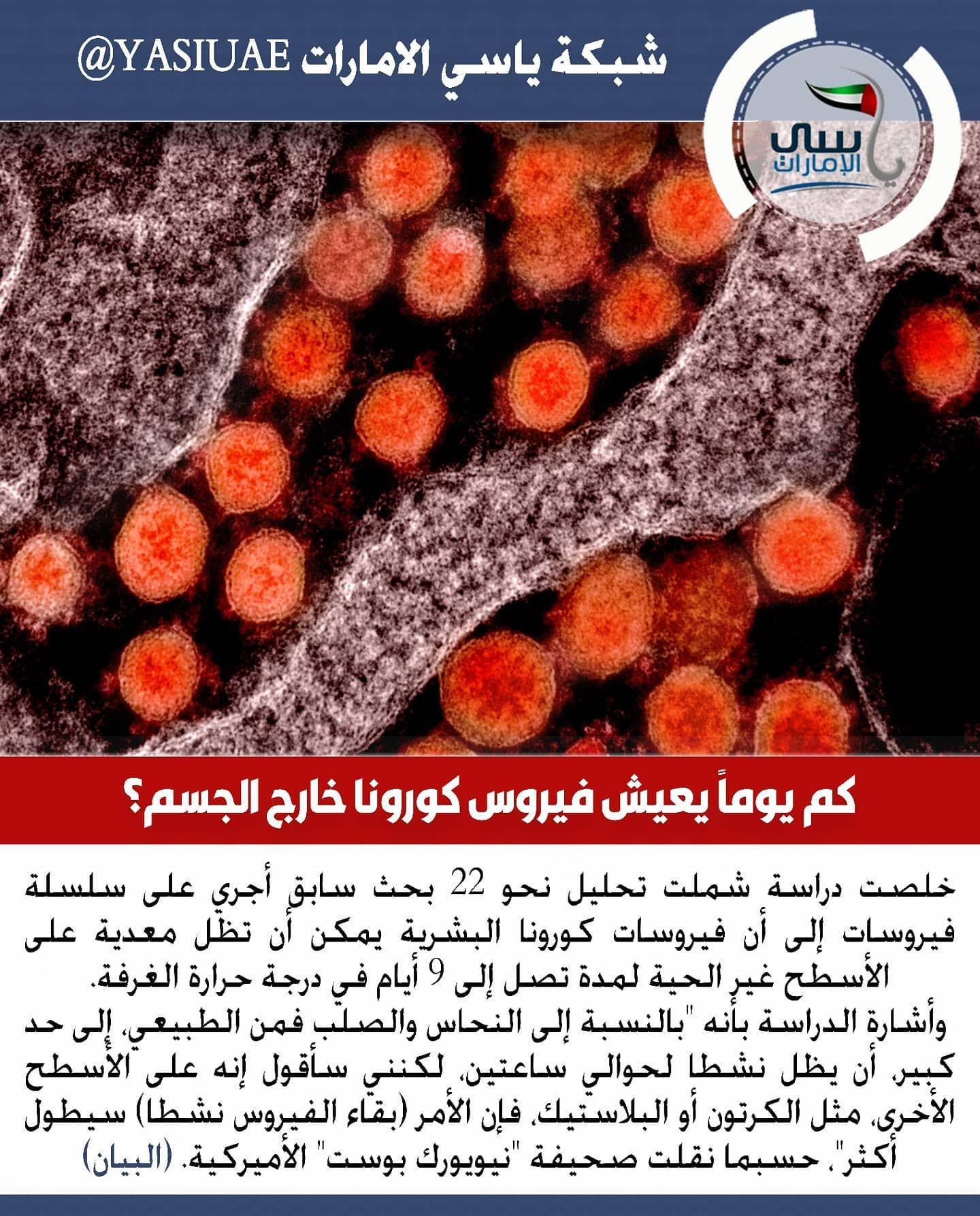 ياسي الامارات كم يوما يعيش فيروس كورونا خارج الجسم شبكة ياسي الامارات شبكة ياسي الامارات الاخباري ابوظبي دبي عجمان الشارقة الفجيرة راس الخيمة الك
