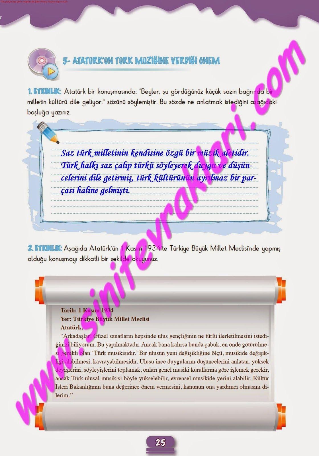 7sınıf Müzik çalışma Kitabı Cevapları Meb Yayınları Sayfa 25 7