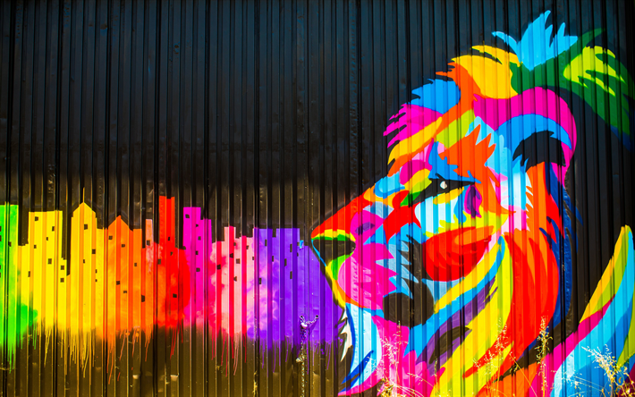 Download wallpapers 4k, lion, art, graffiti, street art