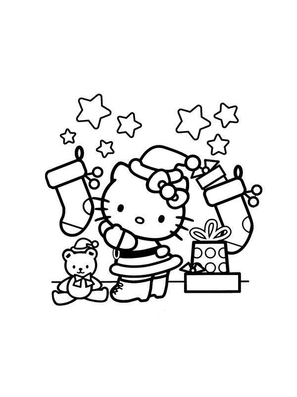 Hello Kitty Christmas | Färgläggningsbilder jul | Pinterest