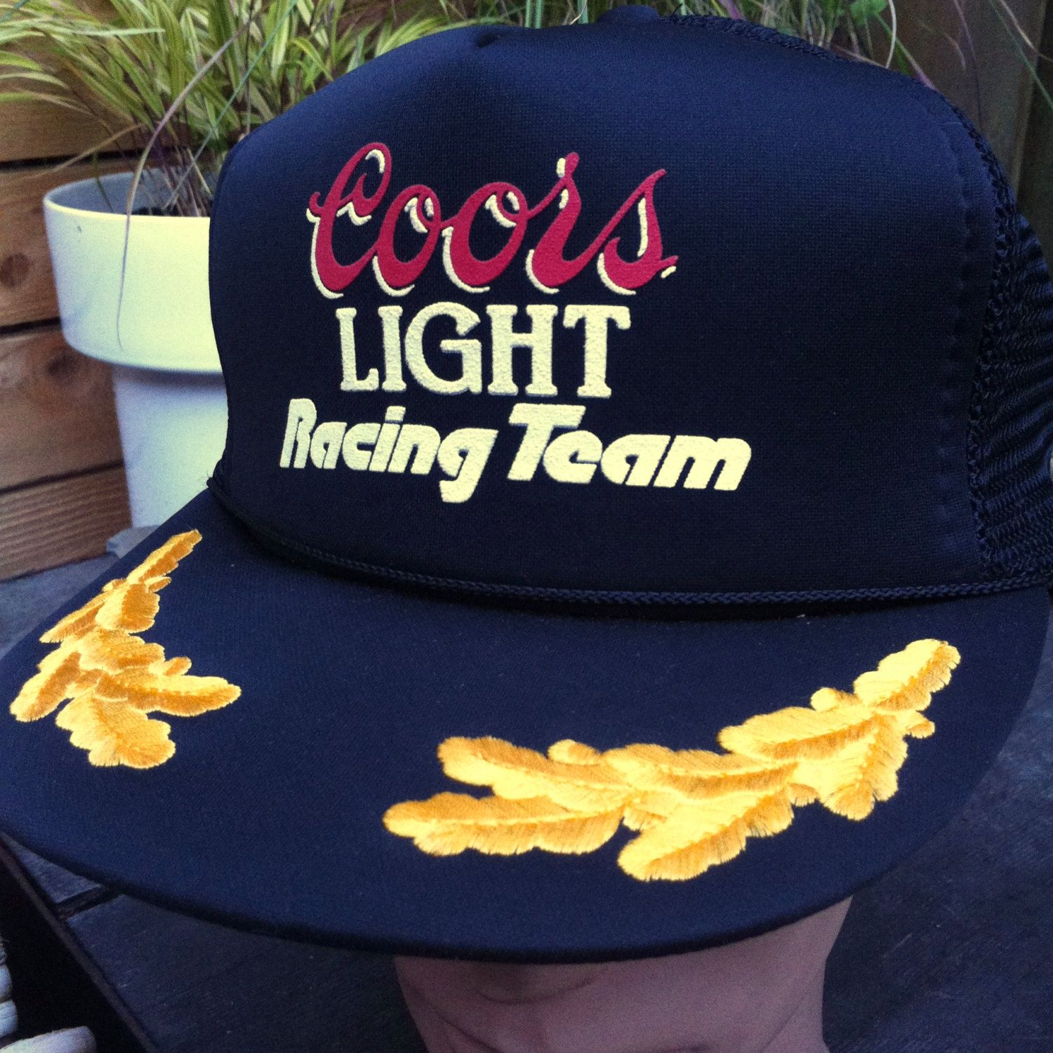 bc2400117e3 Vintage Coors Light Beer Racing Team Mesh Back Snapback Trucker Hat Black  with Gold Embroidery Designer Pro by vintagebaron on Etsy