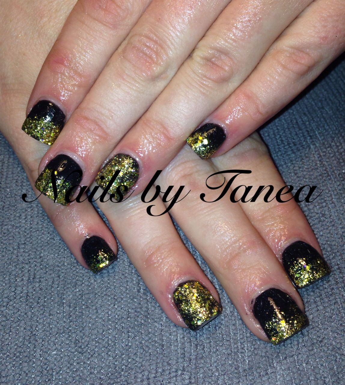 New Years nails. Nails 2013. Nailed by Tanea. Gel nails. Black and ...