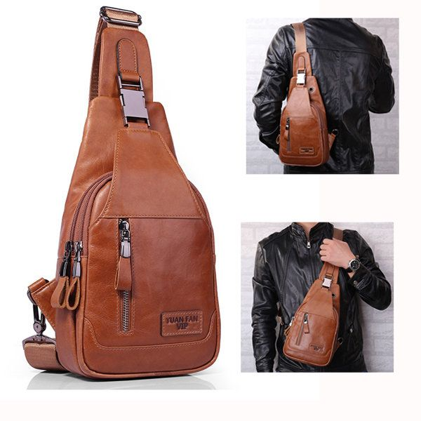 Ekphero Men Casual Genuine Leather Oil Wax Chest Bag Crossbody Bag