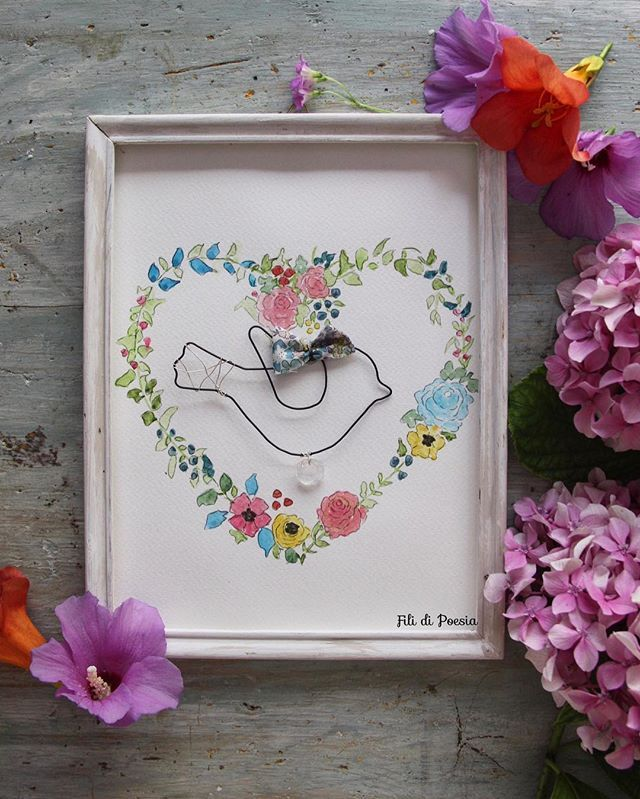 Wire and watercolor and handpainted vintage frame  All Handmade with much love