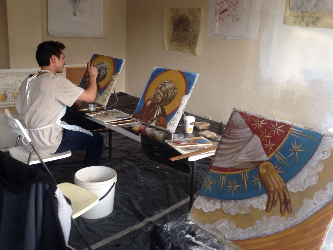 Another long #frescopainting day of 4-day advanced #Byzantine #frescoworkshop at the #fresco retreat in alpine village of Lake Arrowhead - new from the Fresco School