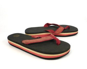 964086f3ad53 Vintage 1980s Deadstock Rainbow Flip Flops Thongs Sandals Womens 13 ...