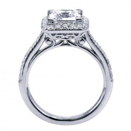 009544808956f1 14K White Gold Square Halo Diamond Engagement Ring | Jewelry ...