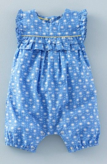 1cbc93d757bf Free shipping and returns on Mini Boden  Pretty  Print Romper (Baby Girls    Toddler Girls) at Nordstrom.com. Frilly ruffles trimming the yoke provide a  ...