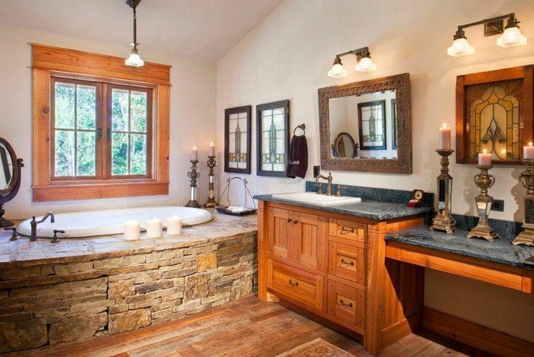 Cuartos de baño rusticos - 50 ideas con madera y piedra | Baños ...
