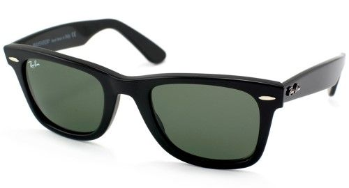 7b5be504b6 Ray-Ban 0RB2140 901 54 Black Crystal Green Wayfarer Icons Sunglasses -  Bundled Item with Cleaning Kit