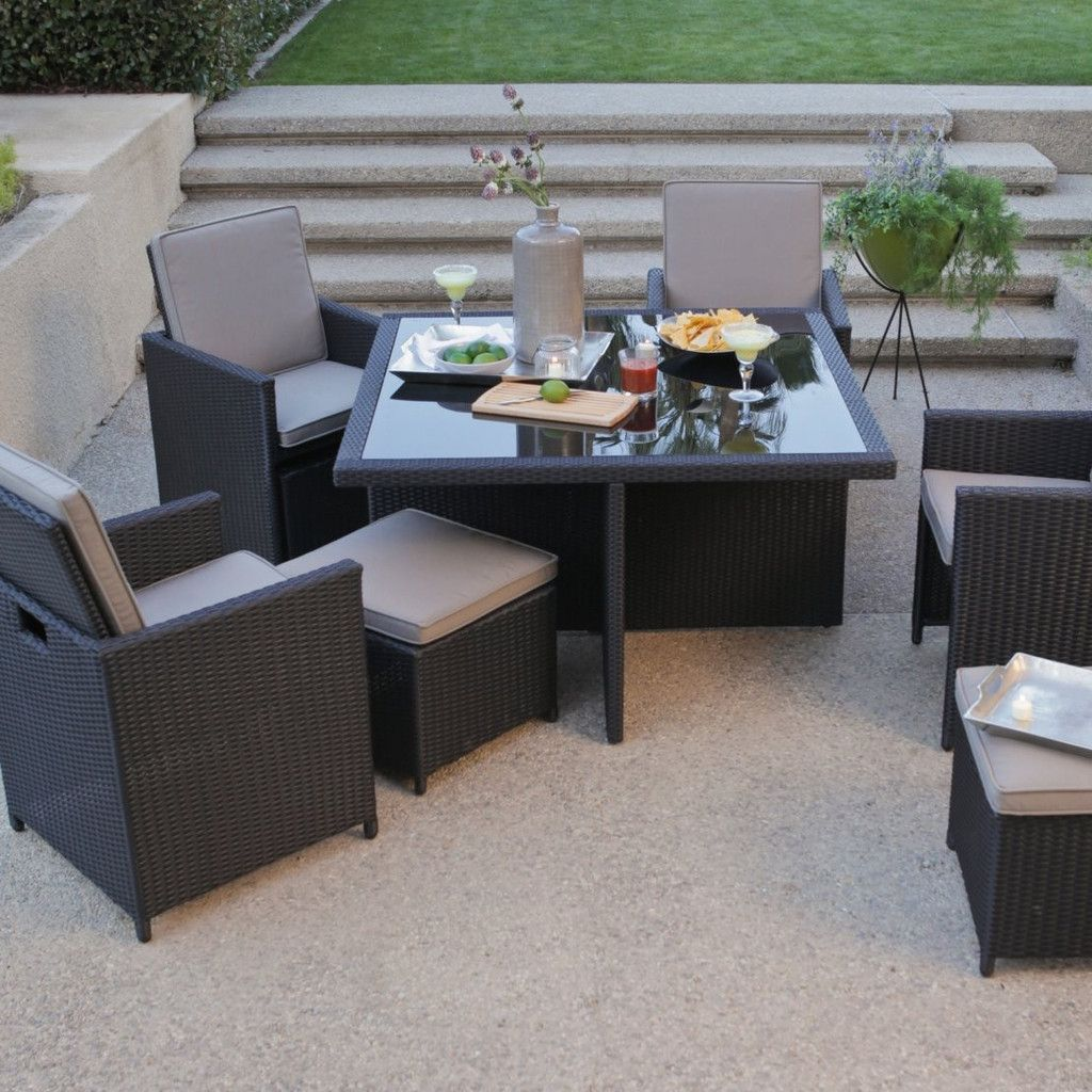 All-Weather Wicker Nesting Patio Furniture Dining Set