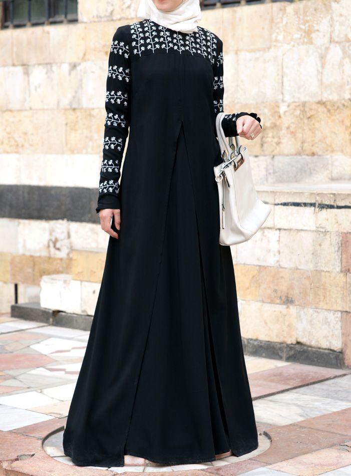 8639617f58368 Hadiya Embroidered Abaya Gown