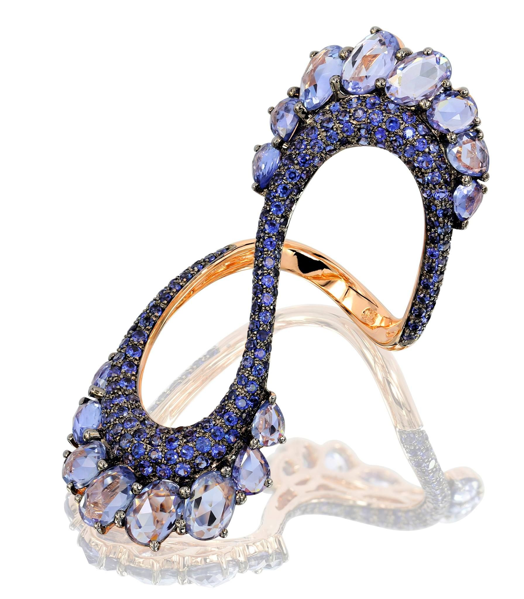 with shank pin blue thorne ribbed rings and megan stones ring white scallop see cut rose diamonds bezel side gold scalloped sapphire by natural colorful