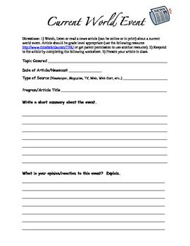 Current Event Template Current Events Worksheet Current Events Current Event Lesson Plans