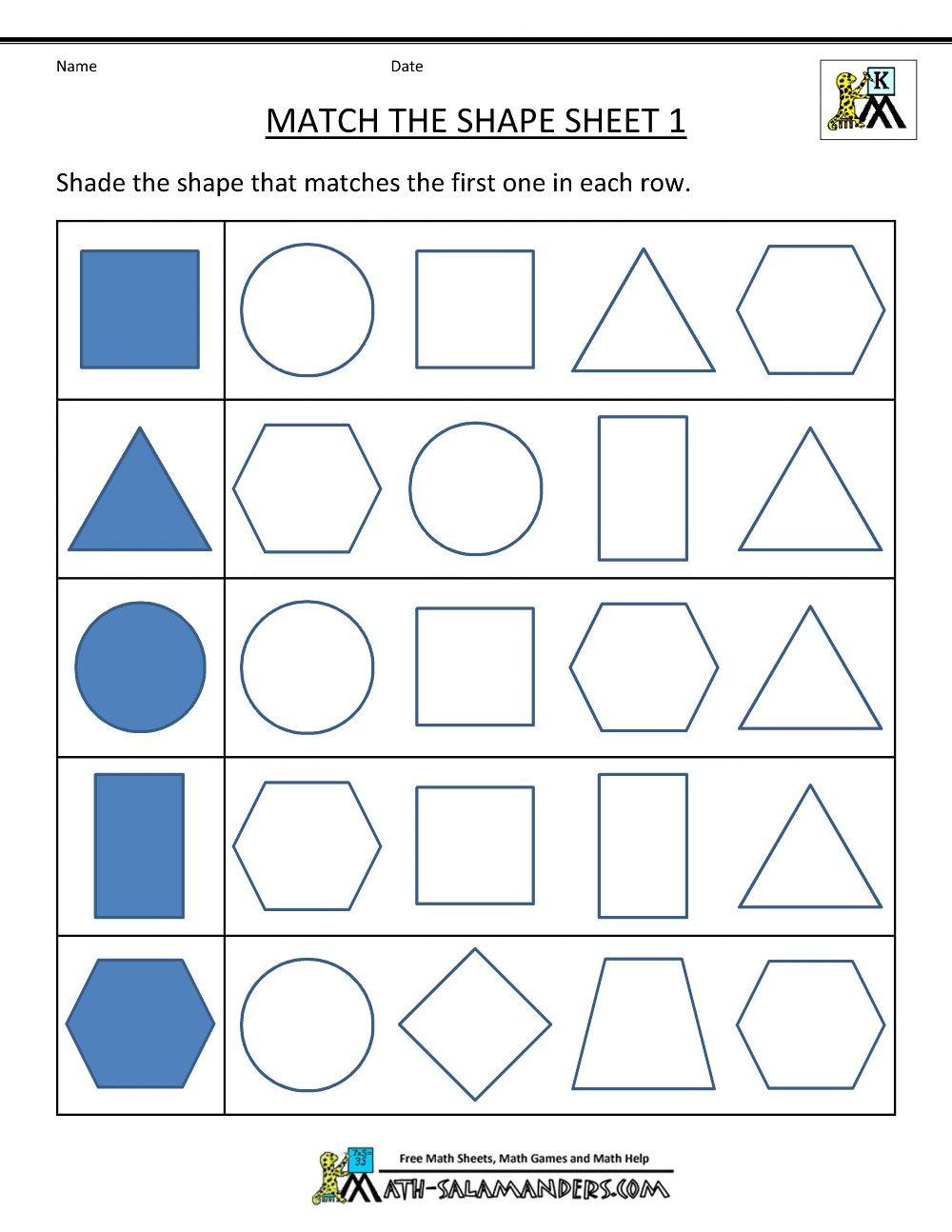 3 Worksheet 4 Matching Shapes 3d 2d Geometry 2d Shapes
